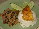 Rice with chicken basil