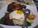 Nasi Lemak With Fried Spice Marinated Chicken