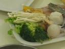 Enoki mushrooms, vege, fish balls and etc
