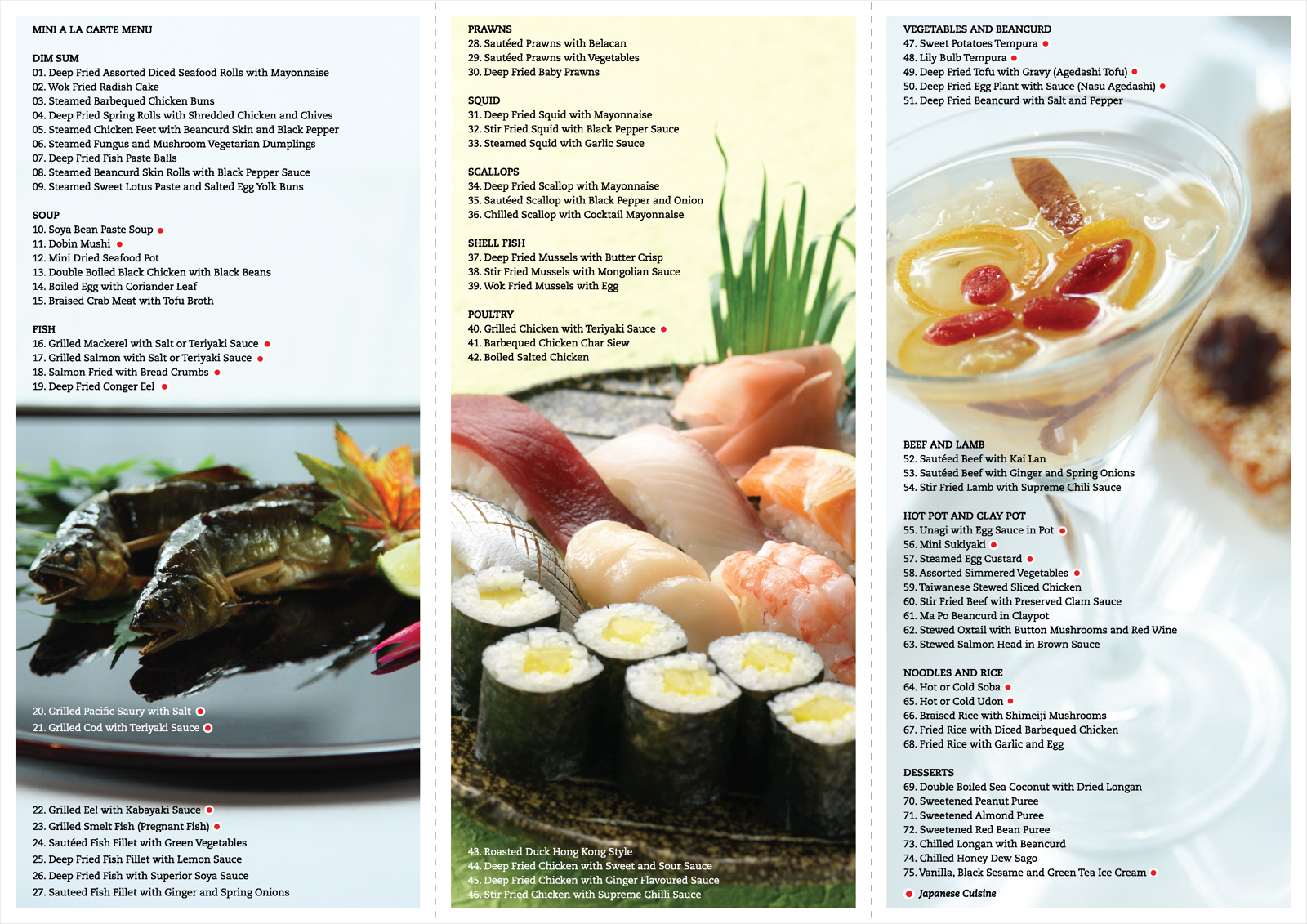 Benkay japanese toh lee chinese restaurant the pride for Asian cuisine menu