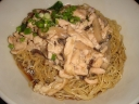 Mushroom and shredded chicken mee