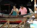 Plenty type of fishes and seafood to choose from inside a mini sampan