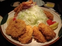 Katsu don .... Deep fried pork with unlimited refill of cabbage and rice